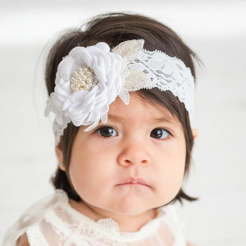 Diana White Baptism Flower Lace Headband