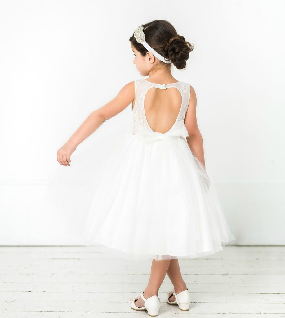 Alana Flower Girl Off White Dress Think Pink Bows