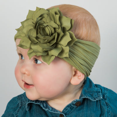 Dahlia Nylon FLOWER Headwraps SAGE 41