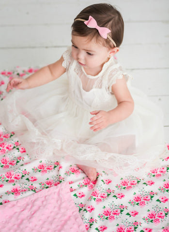 Rose Garden Blanket Soft Baby Blanket & Headband