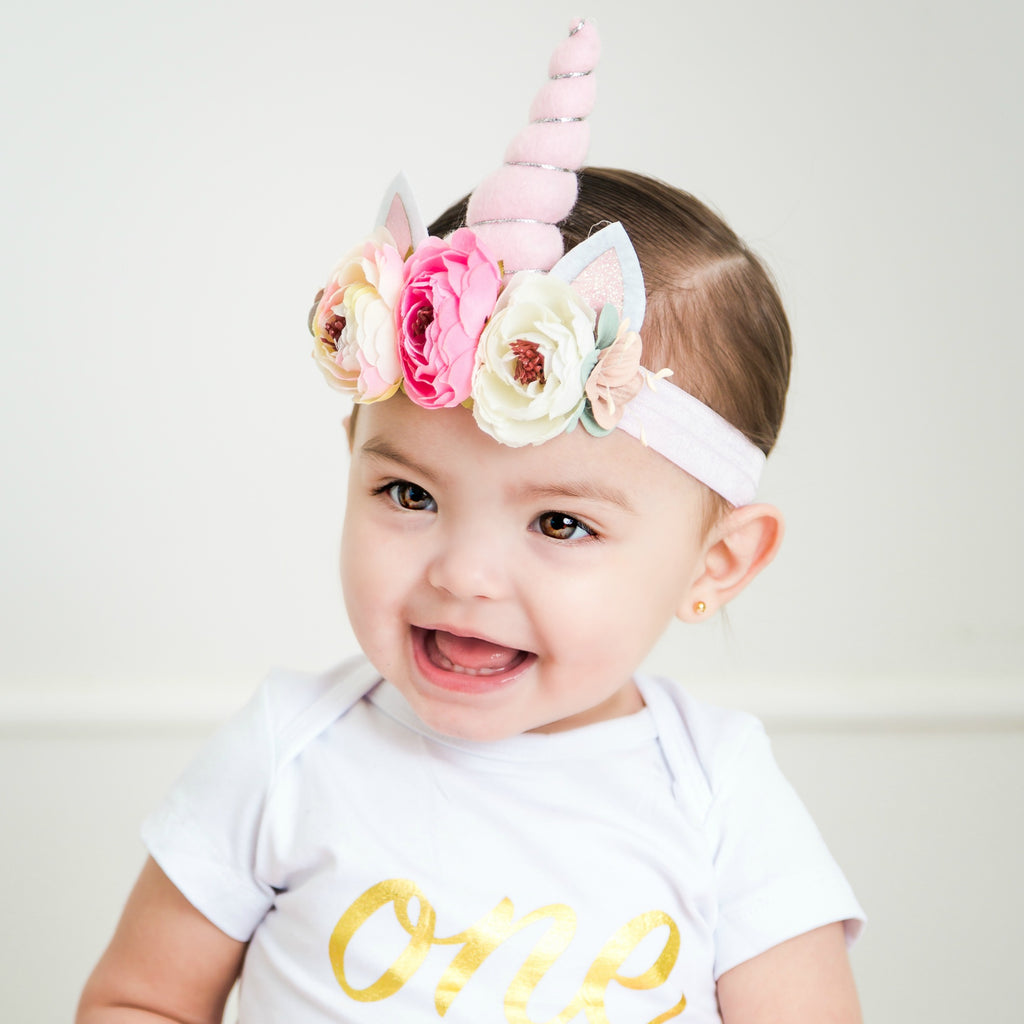 Unicorn Flower Headband – Think Pink Bows c795fc6d82e