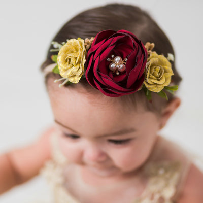 Avery Deluxe Burgundy  Flower Crown on Nylon Headband