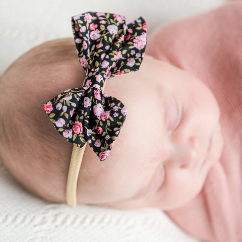 Leila Black Floral Bow on Skinny Nylon Headband