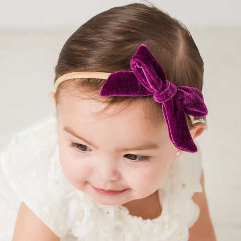 "Luxe Velvet 3.5"" Bow on Skinny Nylon Headband 23 Colors Available"