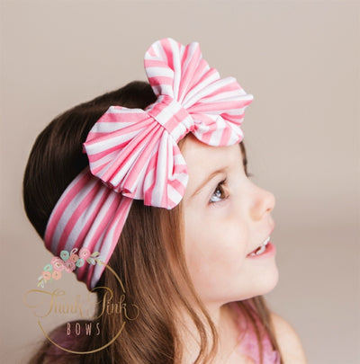 Striped Big Bow Headwraps