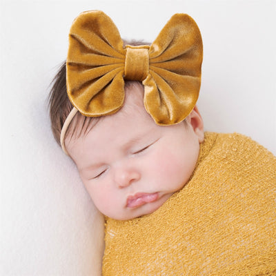 Velvet Bow on Skinny Nylon Headband Mustard Gold 11