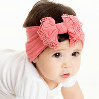 Lace Trim Nylon Headwrap Coral 9