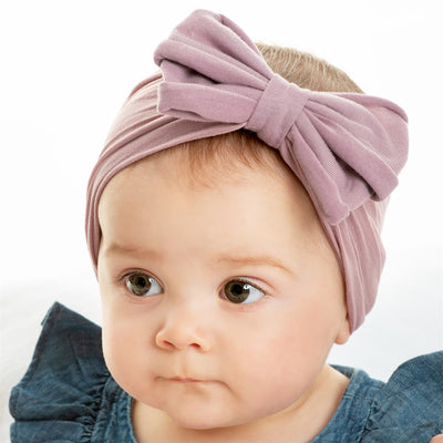 Rolled Bow on Nylon Headwrap PURPLE GREY 7