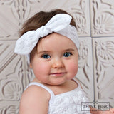 Small Bow Lace Headwrap - Think Pink Bows - 3