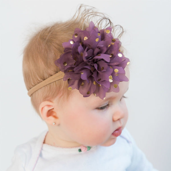 Gold Dots Flower Headbands - 10 Colors