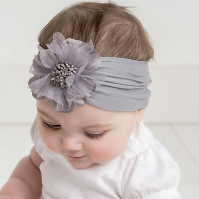 Belle Nylon FLOWER Headwraps PEARL GREY 10