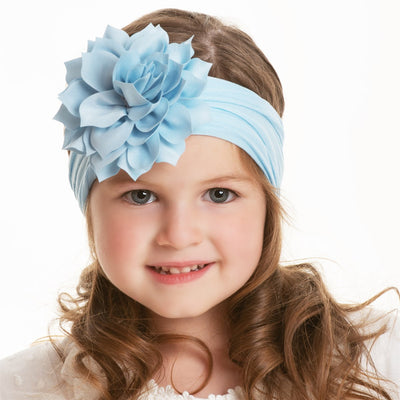 Dahlia Nylon FLOWER Headwraps LIGHT BLUE 1