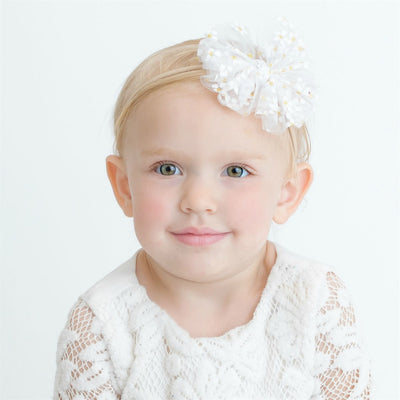 Daisy Tulle  Bow Headband WHITE