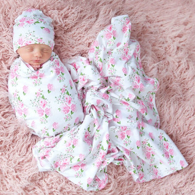 Baby Cotton SWADDLE Hat & Headband SET 4 Styles