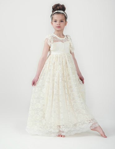 Eliza Flower Girl Lace Open Back Dress - Ivory