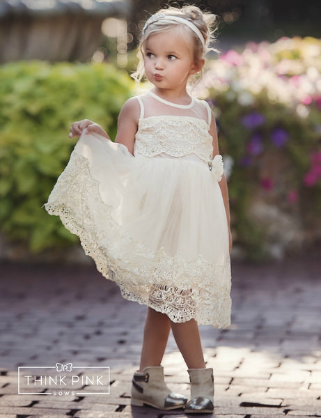 Tea time Flower Girl Dress  Ivory - Think Pink Bows - 1