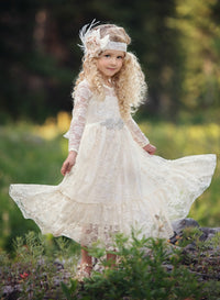 Sweetheart Flower Girl Lace Long Sleeve Dress - Ivory