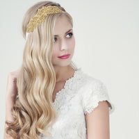 Gold Leaf Bling Wedding Bridal Headband