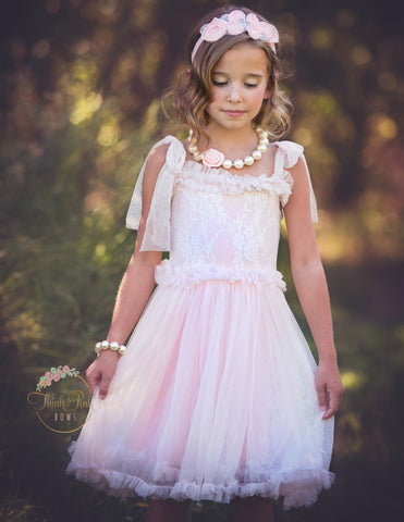 Soft Lace Tulle Light Pink Dress - Think Pink Bows - 1