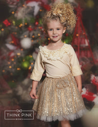Sparkle Within Sequin Bow Skirt - Gold