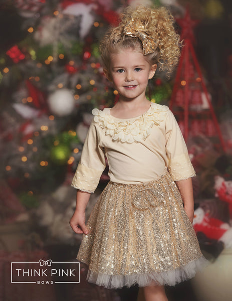 Sparkle Within Sequin Bow Skirt - Gold - Think Pink Bows - 1