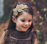 Royalty Gold Bridal & Flower Girl Wedding Rhinestone Bling Headband - Think Pink Bows - 4
