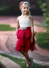 Claire Flower Girl Dress Burgundy
