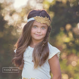 Gold Leaf Bling Wedding Bridal Headband - Think Pink Bows - 2