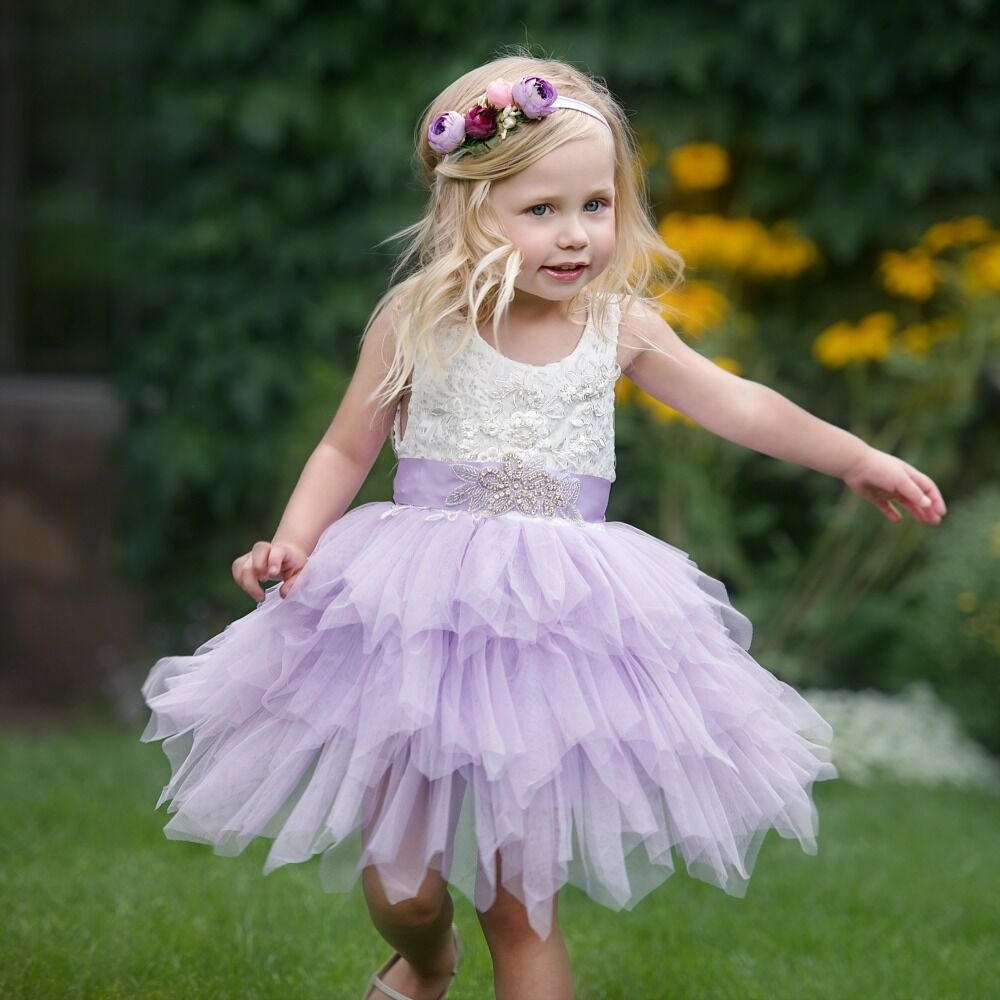 Claire Flower Girl Dress Lavender Think Pink Bows