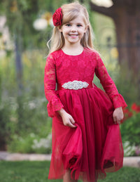 Madeline Flower Girl Lace Long Sleeve Dress