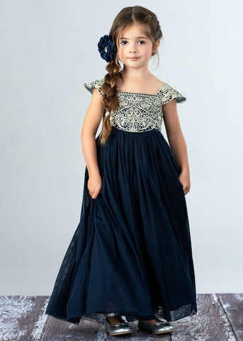 Georgia Belle Flower Girls Dress - Navy
