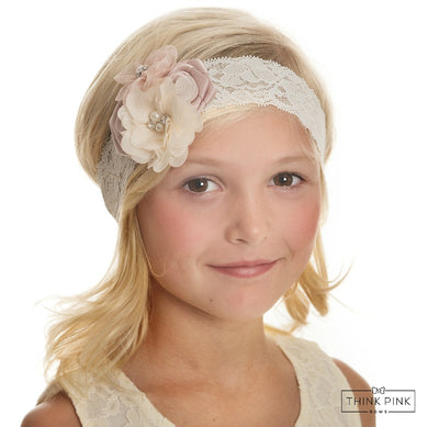 Yours Truly Flower Lace Headband - Blush
