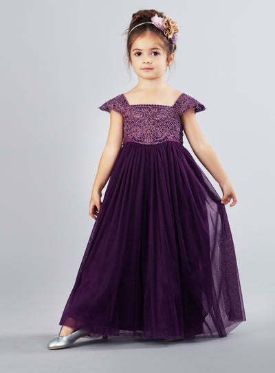 Georgia Belle Flower Girl Dress - EGGPLANT