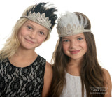Ruffle Your Feathers Rhinestone Crown Headband - Think Pink Bows - 1