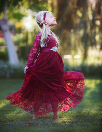 Sweetheart Flower Girl Lace Long Sleeve Dress - Burgundy