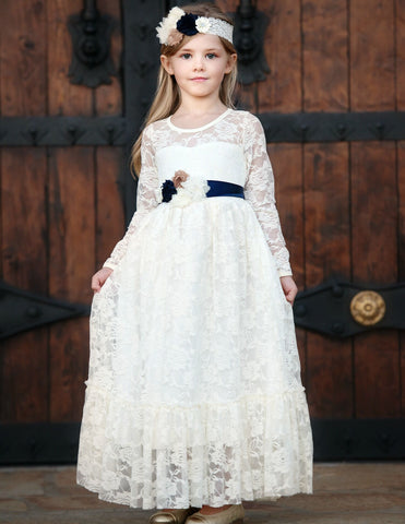 Sweetheart Flower Girl Lace Long Sleeve Dress - Ivory With Sash