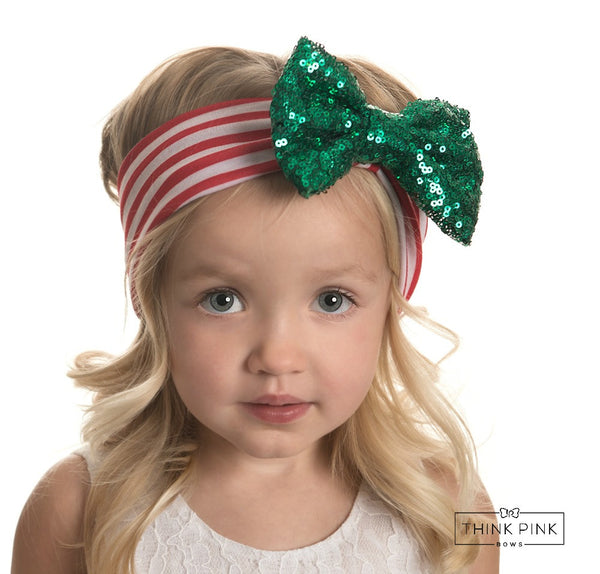 Merry & Bright Green Sequin Bow Headwrap - Think Pink Bows - 1
