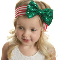 Merry & Bright Green Sequin Bow Headwrap