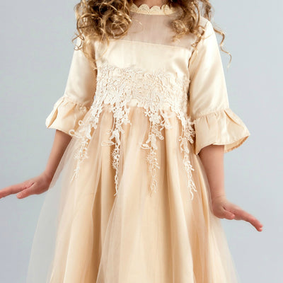 Elizabetta Long Flower Girl Dress - Gold