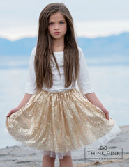 Gold Sequin Skirt - Think Pink Bows - 1