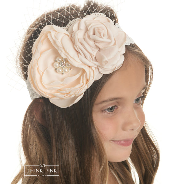 Mademoiselle Flower Lace Headband - Peach - Think Pink Bows - 1