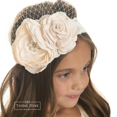 Mademoiselle Flower Lace Headband - Peach