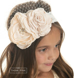 Mademoiselle Flower Lace Headband - Peach - Think Pink Bows - 3
