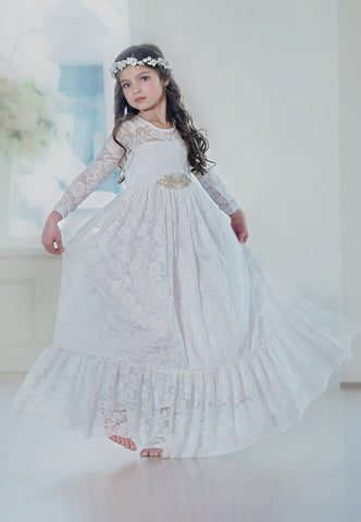 Sweetheart Flower Girl Lace Long Sleeve Dress - White