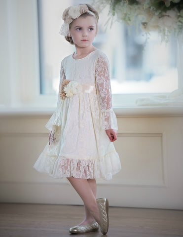 Isabella Flower Girl Lace Dress - IVORY