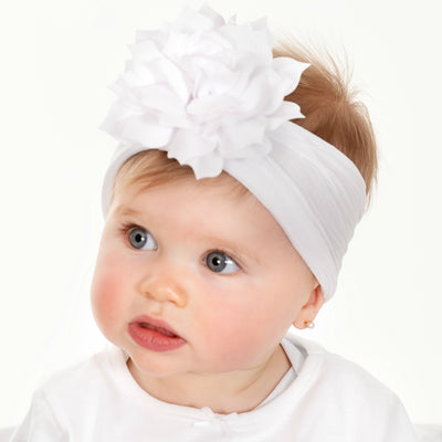 Dahlia Nylon FLOWER Headwraps WHITE 20