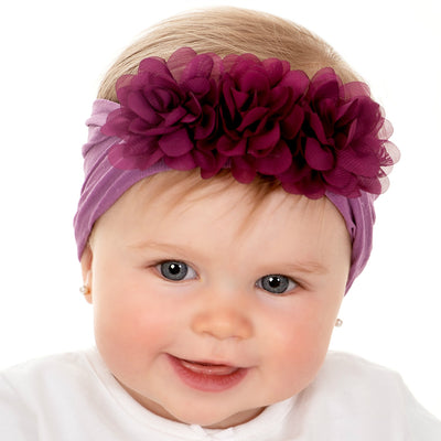 Flower Trio Nylon Headwrap DEEP LILAC 14