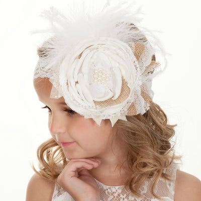 Rustic Elegance  Couture Flower Lace Headband