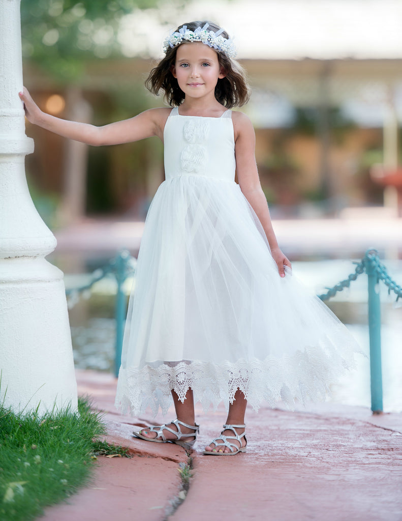 87105edc9db98 Francesca Flower Girl Lace Dress Off White – Think Pink Bows