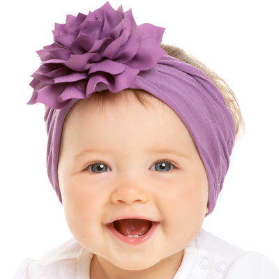 Dahlia Nylon FLOWER Headwraps DEEP LILAC 14